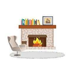 Fireplace with books and photo in frame interior vector