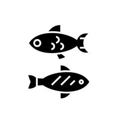 fish - small icon black sign vector image