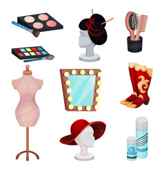 Flat set of dressing room icons cosmetic vector