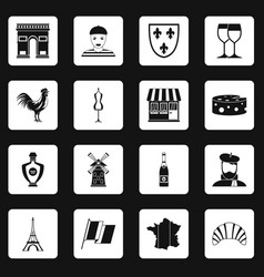 France travel icons set squares vector