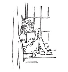 Girl reading sitting vintage engraving vector