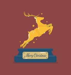 golden christmas reindeer vector image