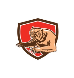 Grizzly Bear Angry Shield Retro vector