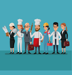 group people various professions labor day vector image