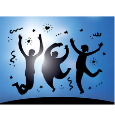 happy jumping group people silhouette and sky vector image