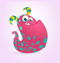 Happy pink halloween cartoon monster vector