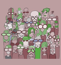 Hipster hand drawn Doodle crowd of happy people in vector image