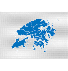 Hong kong map - high detailed blue map with vector