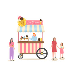 ice cream business shop with frozen dessert meal vector image