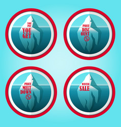 iceberg shopping concept discount stickers set vector image