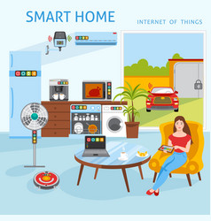 Internet of things smart home concept vector