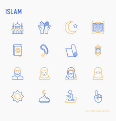Islam thin line icons set vector