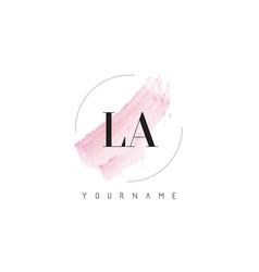 la l a watercolor letter logo design with vector image