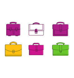 leather bag icon set color outline style vector image