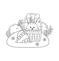 little rabbit with egg painted in basket on the vector image