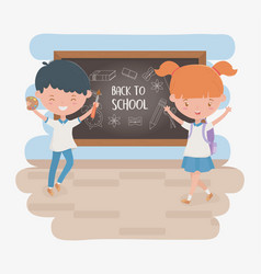 little students couple with chalkboard and school vector image