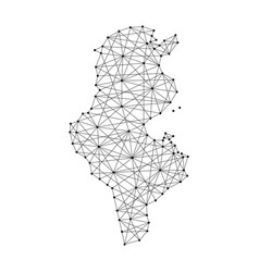 map of tunisia from polygonal black lines and dots vector image