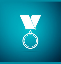 medal icon on blue background winner symbol vector image