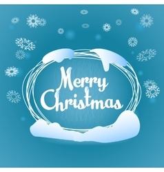 Merry Christmas oval greeting blue card vector