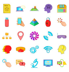 mobile internet icons set cartoon style vector image