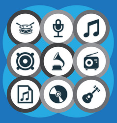 multimedia icons set collection of music cd vector image
