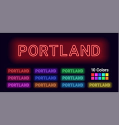 Neon name of portland city vector