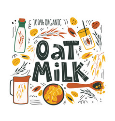 Oat milk hand drawn and lettering 1 vector