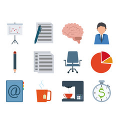 office supply stationery work business flat style vector image