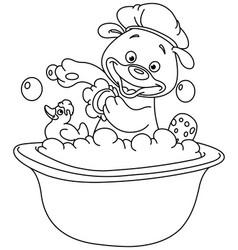 Outlined teddy bear taking a bath vector