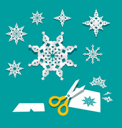 paper cut snowflakes creativity project vector image