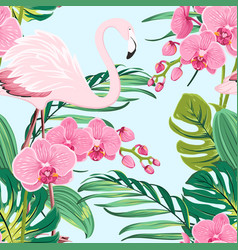 Pink orchid flamingo tropical leaves pattern blue vector