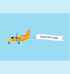 plane or biplane with ribbon banner flat vector image