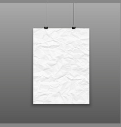 poster template blank crumpled paper texture vector image