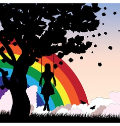 Rainbow girl swing vector image