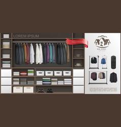 Realistic male wardrobe room modern concept vector