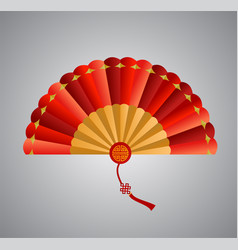 Red chinese folding fan on white background vector