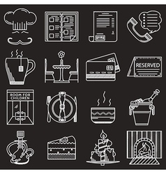 Restaurant service white line icons vector