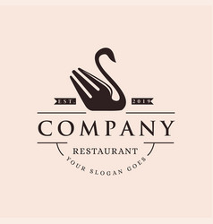 retro swan fork restaurant cafe logo icon vector image