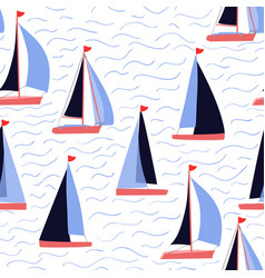 sail boats and waves repeat nautical print vector image