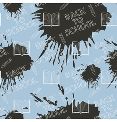 Seamless pattern Back to school on blue background vector