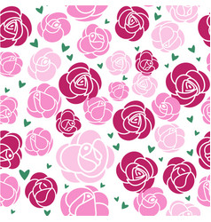 seamless pattern pink roses and green hearts vector image
