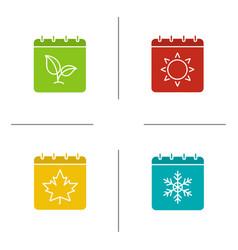 Seasons calendar glyph color icon set vector