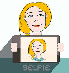 Selfie Cell Phone Photo of Blonde Woman vector image
