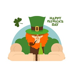 Serious leprechaun and bottle of beer Brutal vector image