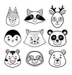 Set of cute animal faces black white panda vector