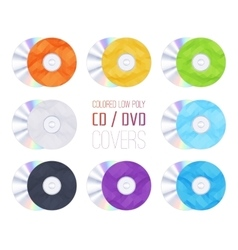 Set of the colored low poly CD-DVD covers vector