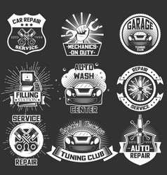 set vintage car service labels badges vector image