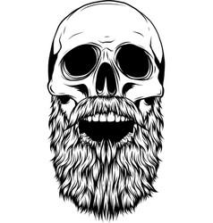 silhouette human skull with beard vector image
