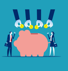 Successful business and piggy bank saving vector
