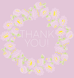 thank you hand drawn lettering in floral frame vector image